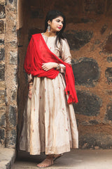 Noori Beige Embroidered Anarkali