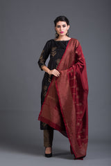 Smoky Dandelion Set with Maroon Dupatta (Set of 3)
