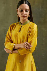 Mustard Embroidered Chanderi Kurta