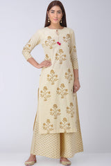 Ivory Block Printed Kurta & Palazzo (Set of 2)