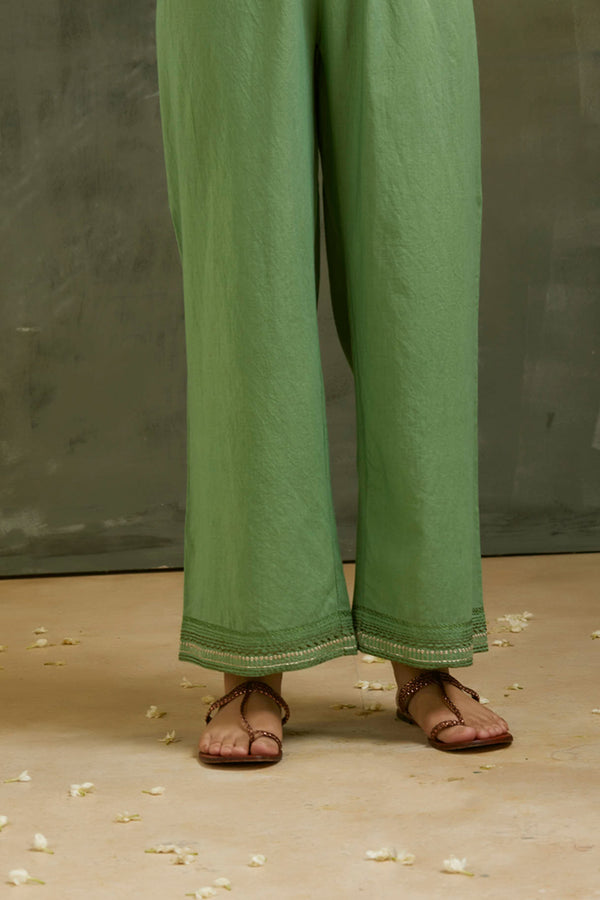 Fern Green Embroidered Cotton Palazzo