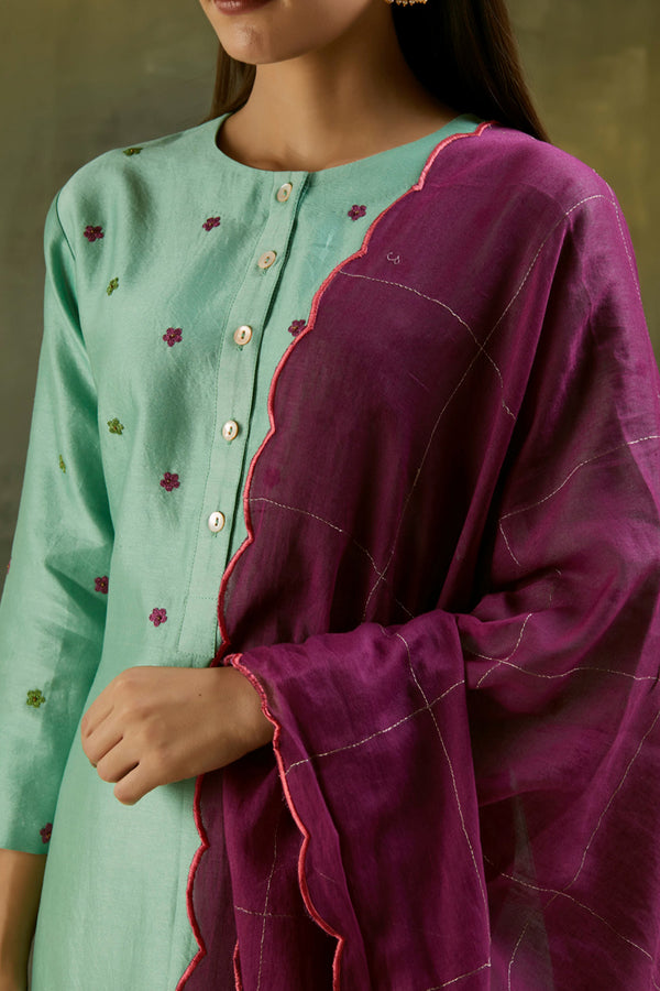 Wine Zari Embroidered Mul Dupatta