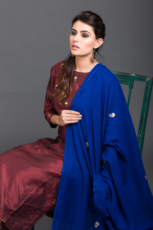 Blue Mulmul Embroidered Dupatta