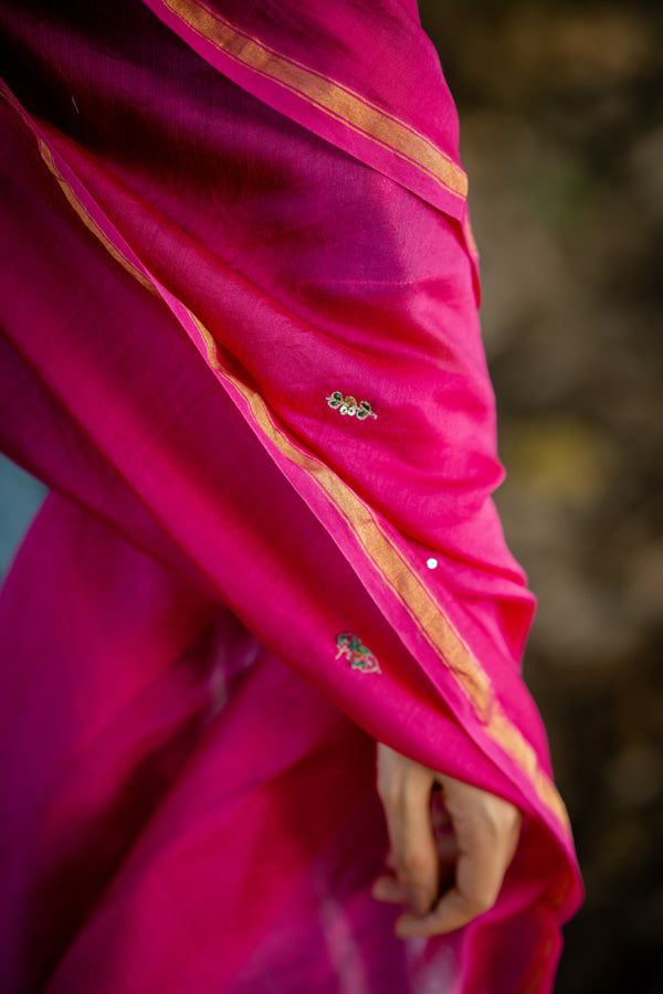 Rani Pink Hand Embroidered Floral Dupatta