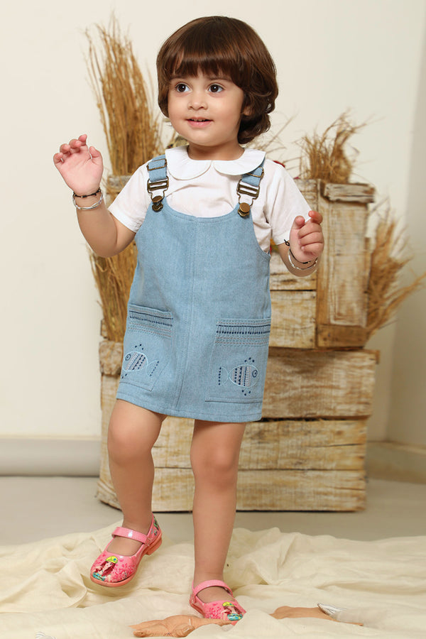 Blue Machlee Embroidered Denim Dungaree with White Top (Set of 2)