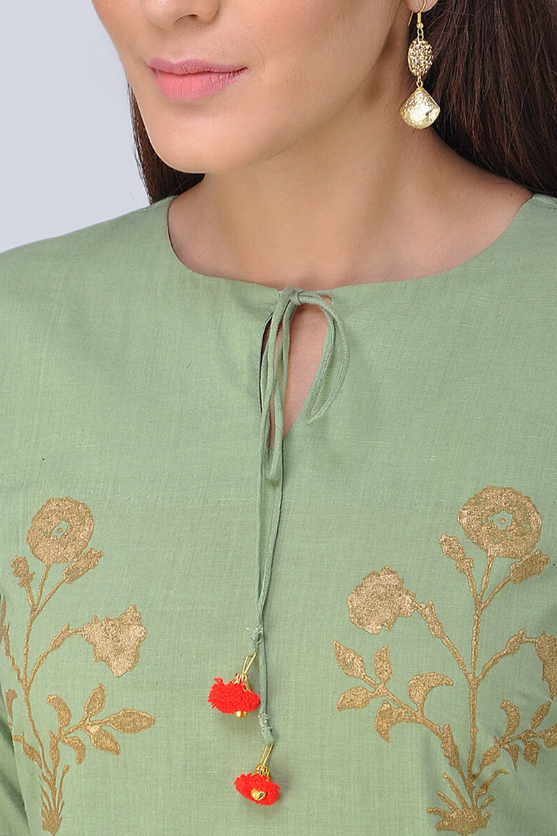 Mint Green Block Printed Kurta