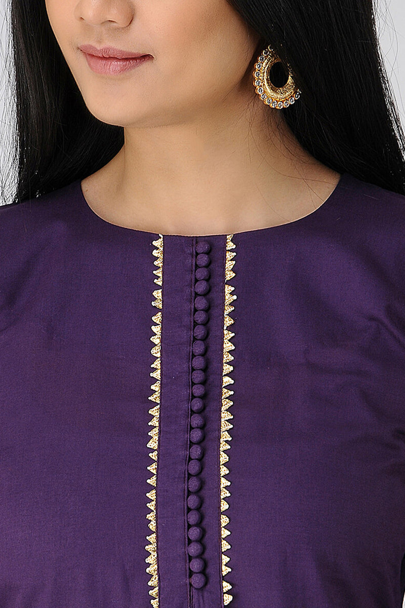 Purple Cotton Buttoned Kurta