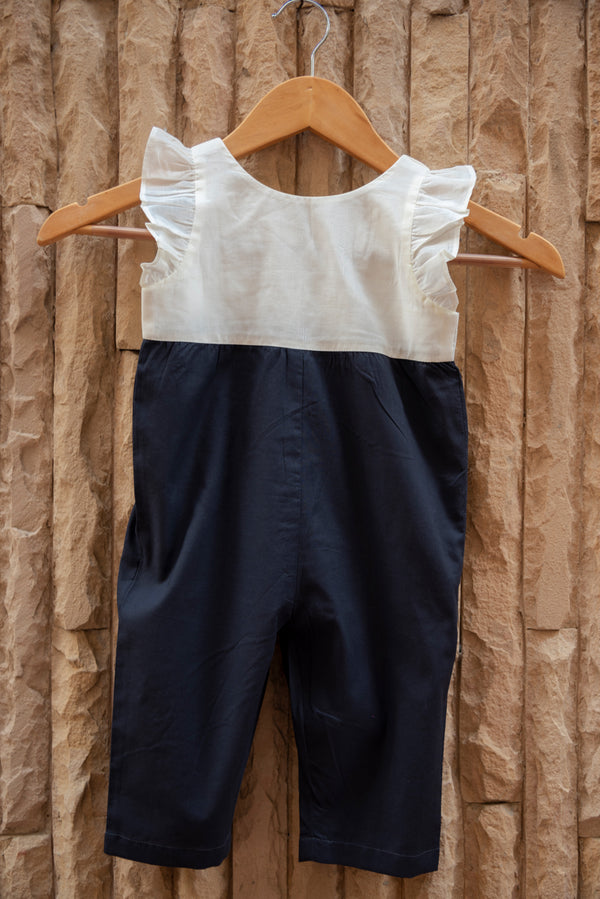 Twill Ivory Grey Dungarees
