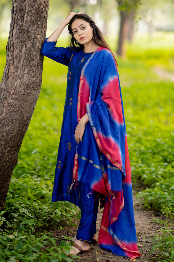 Red-Blue Tie-Dye Chanderi Dupatta
