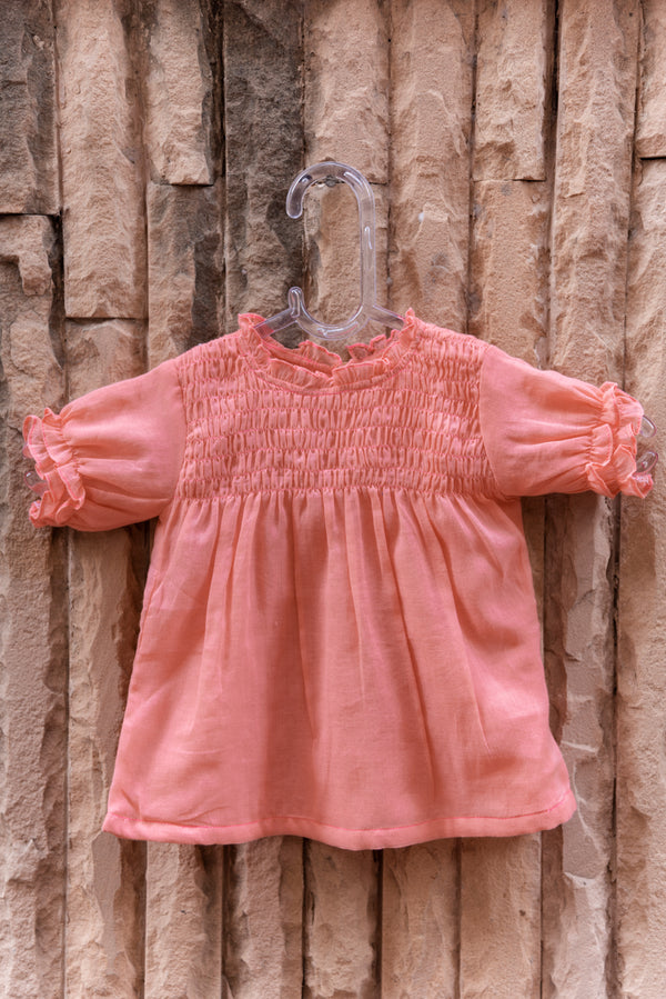 Pink Cotton Smocked Top