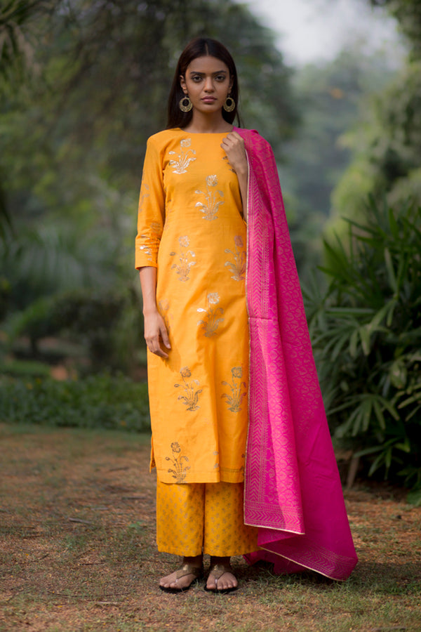 Sunflower Kurta Palazzo Set With Dupatta (Set of 3)