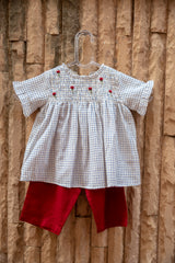Ivory Checkered Floral Top With Red Pants (Set of 2)