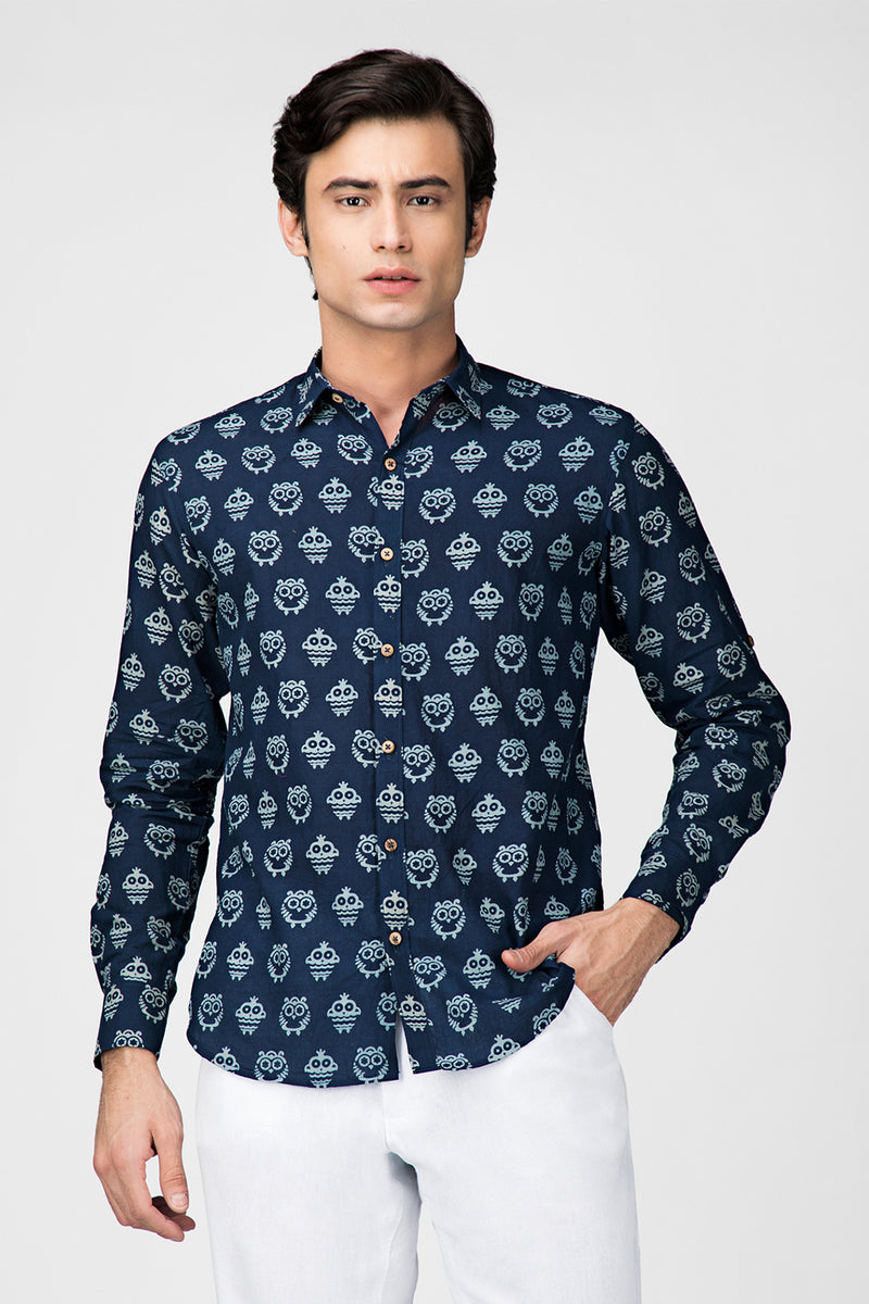 Navy Blue Ullu Handblock Printed Shirt