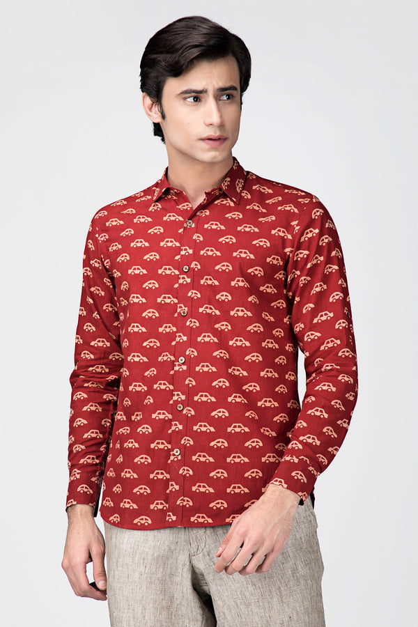 Maroon Car Handblock Printed Cotton Shirt