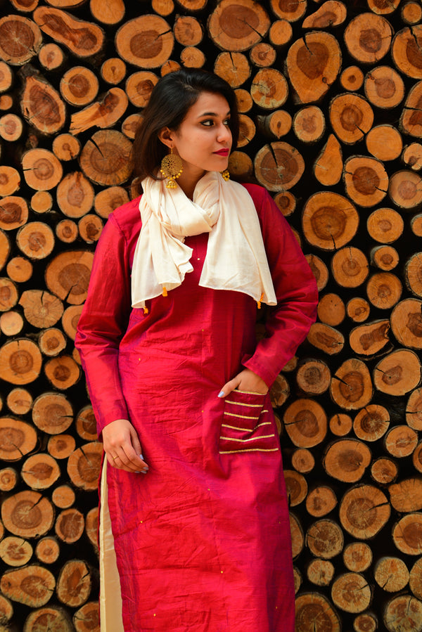 Earthy Red Chanderi Gota Embellished Kurta