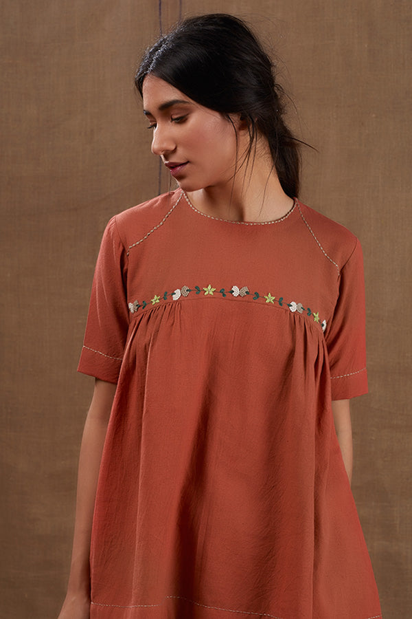 Rusty Floral Embroidered Top