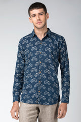 Navy Blue Scooter Handblock Printed Shirt