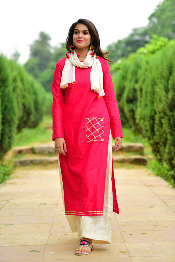 Pink Red Kurta Set with Dupatta (Set of 3)