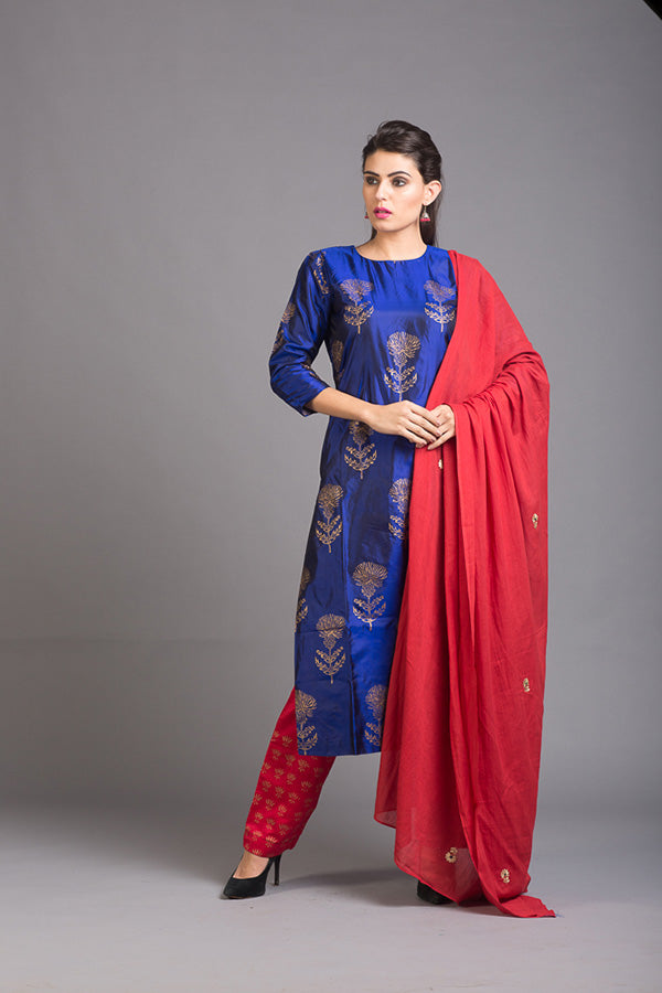 Azurite Lily Block Printed Silk Set with Red Dupatta (Set of 3)