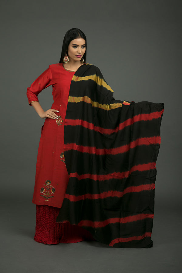 Red Yellow Tie-Dye Chanderi Dupatta