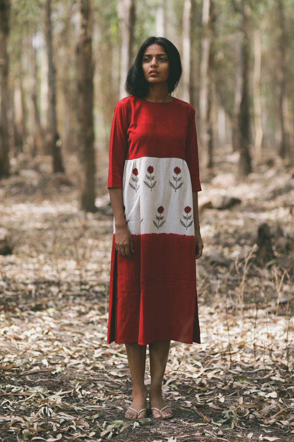 Crimson Mogra Embroidered Swing Dress