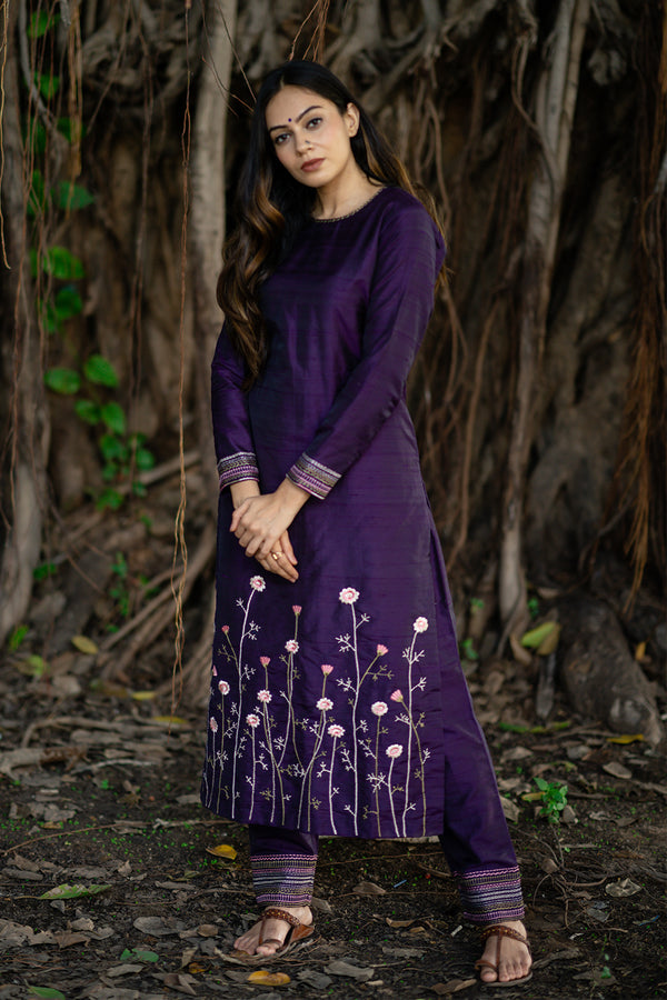 Purple Raw Silk Bahaar Embroidered Kurta