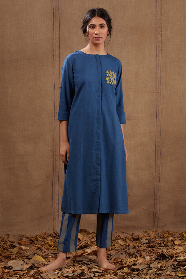 Blue Cotton Pocket Embroidered Kurta