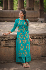 Turquoise Block Printed Kurta & Palazzo (Set of 2)