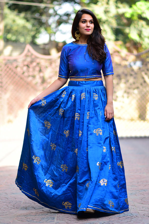 Blue Elephant Chanderi Lehenga (Set of 2)