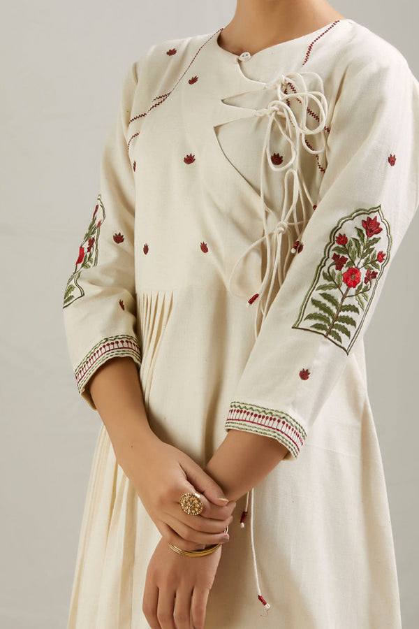 Ivory Embroidered Cotton Angarkha Kurta