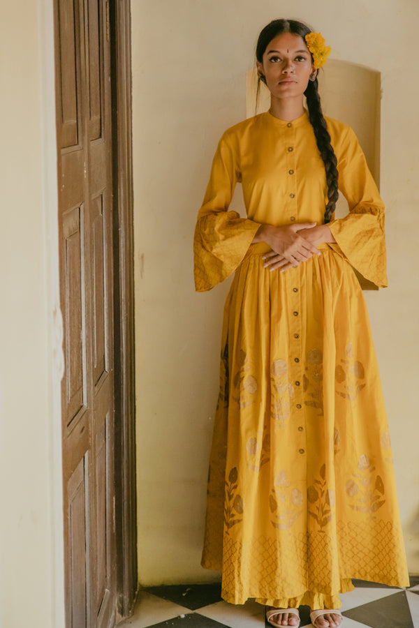 Mustard Block Printed Maxi Dress
