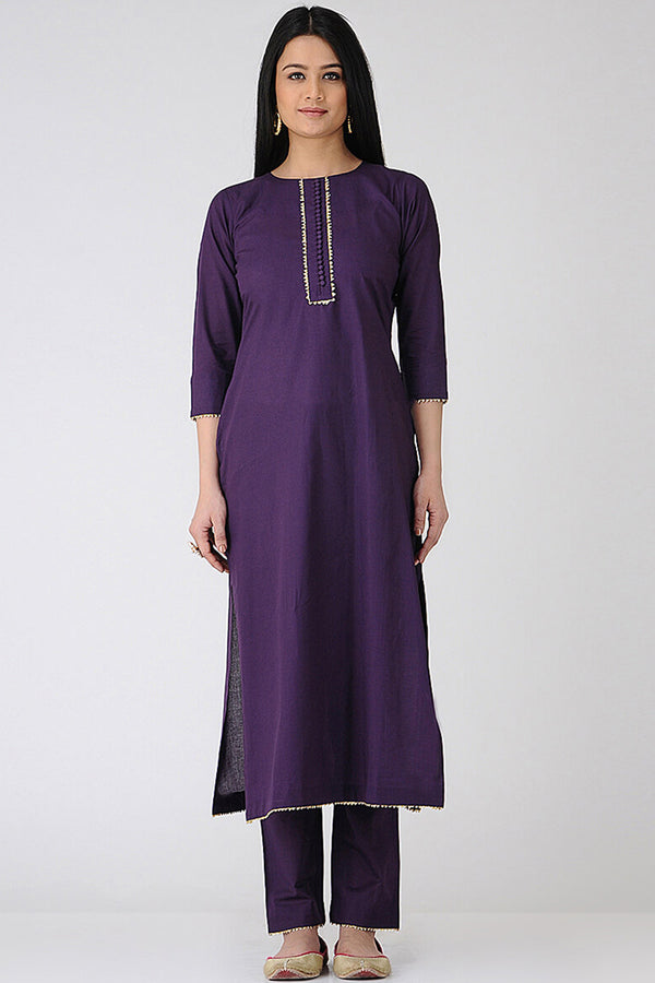 Purple Cotton Buttoned Kurta & Pant (Set of 2)