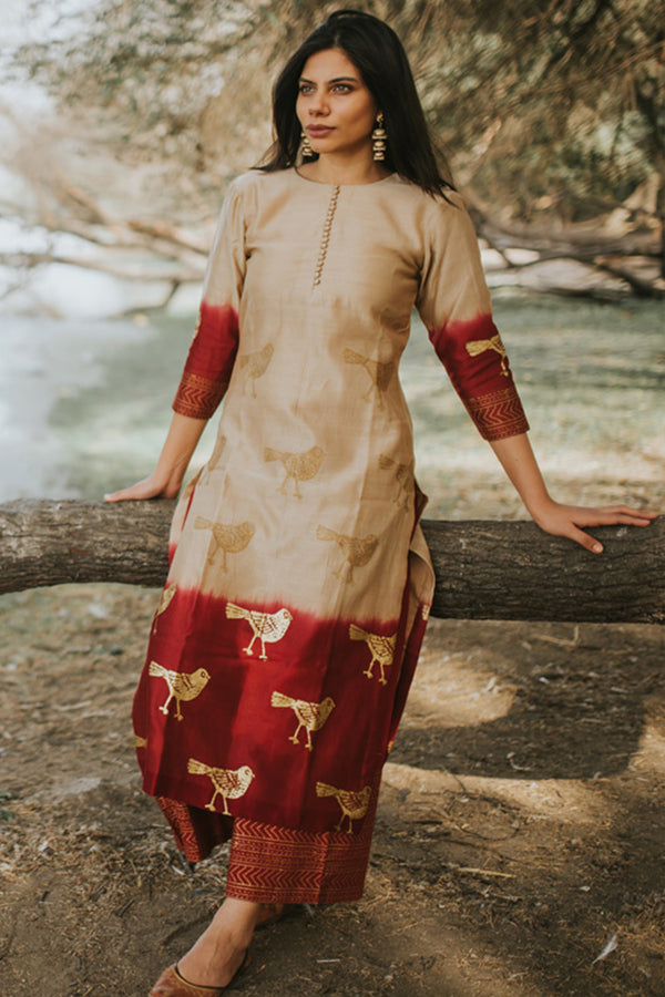 Ecru Bird Printed Chanderi Kurta
