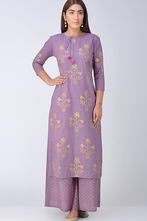 Lavender Block Printed Kurta & Palazzo (Set of 2)