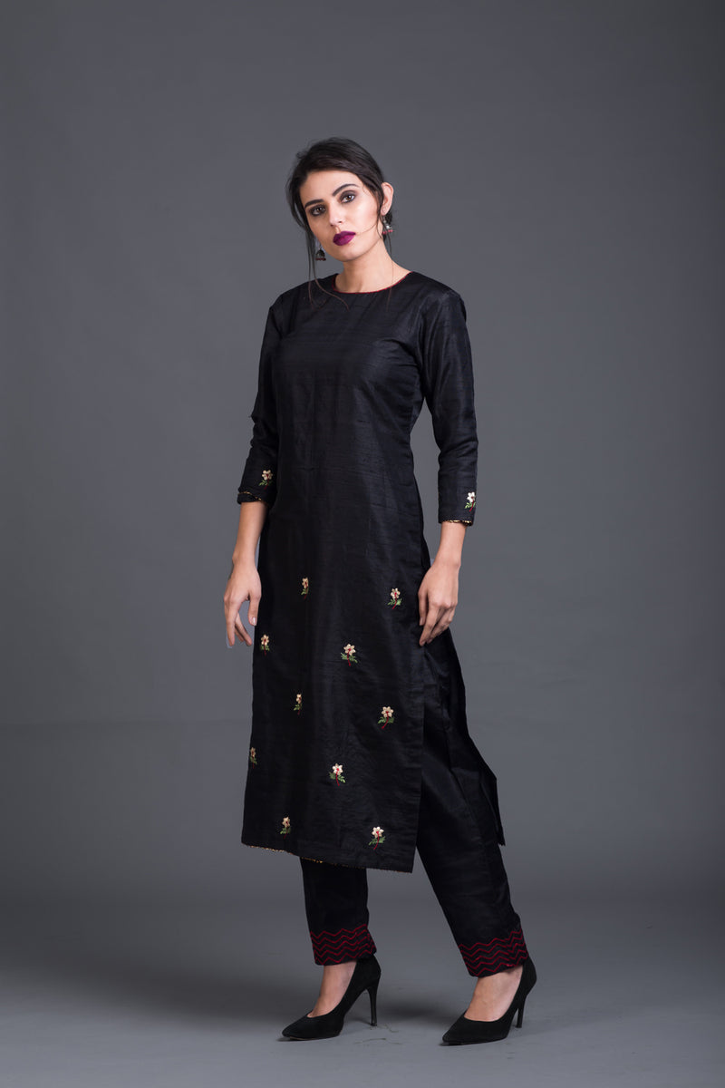 Charcoal Floral Embroidered Kurta