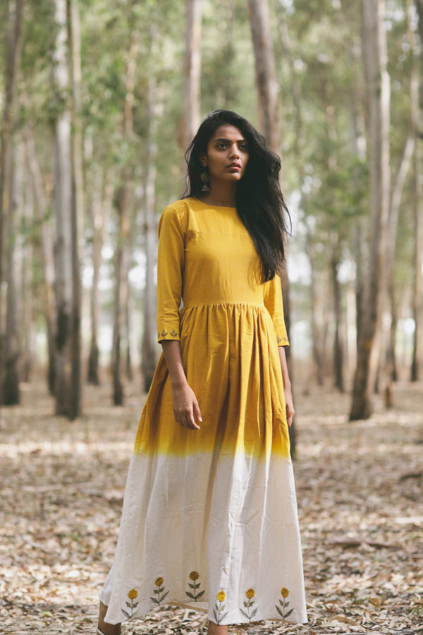 Mustard Mogra Embroidered Fit & Flare Dress