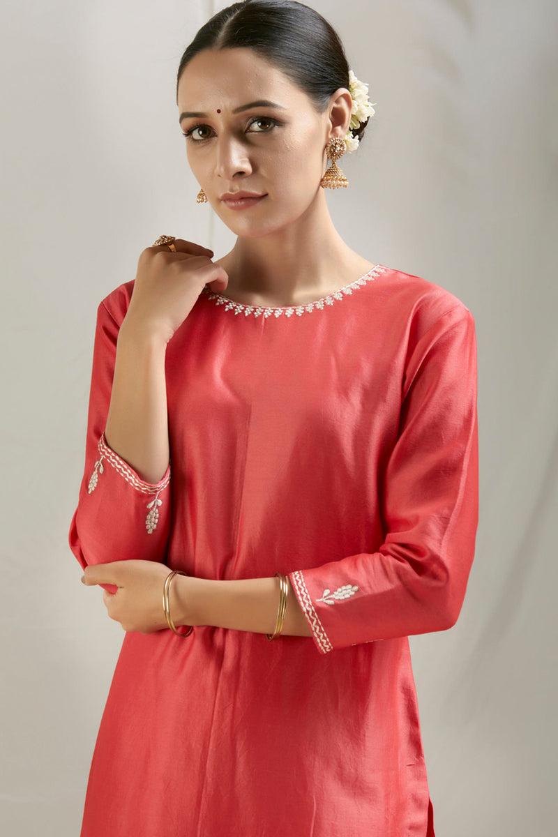 Coral Pink Embroidered Chanderi Kurta