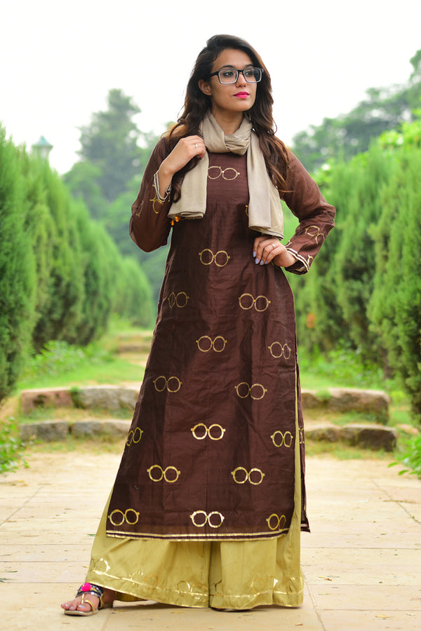 Chashma Set Brown Kurta Set with Dupatta (Set of 3)