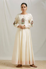 Ivory Embroidered Anarkali & Pant (Set of 2)