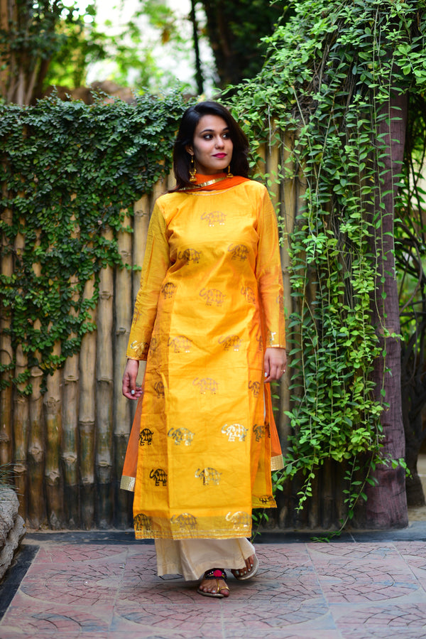 Yellow Elephant Printed Chanderi Kurta