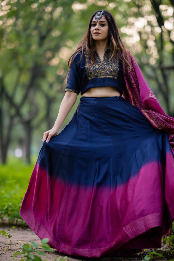 Navy Blue-Purple Shaded Chanderi Lehenga