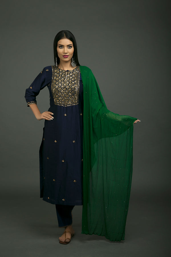 Roshanara Embroidered Neela Kurta Set with Green Dupatta (Set of 3)