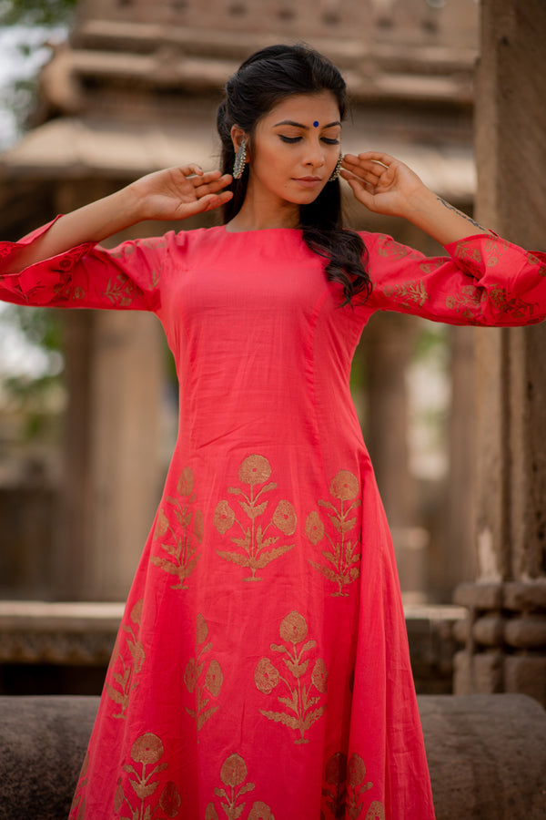 Red Block Printed A-Line Kurta