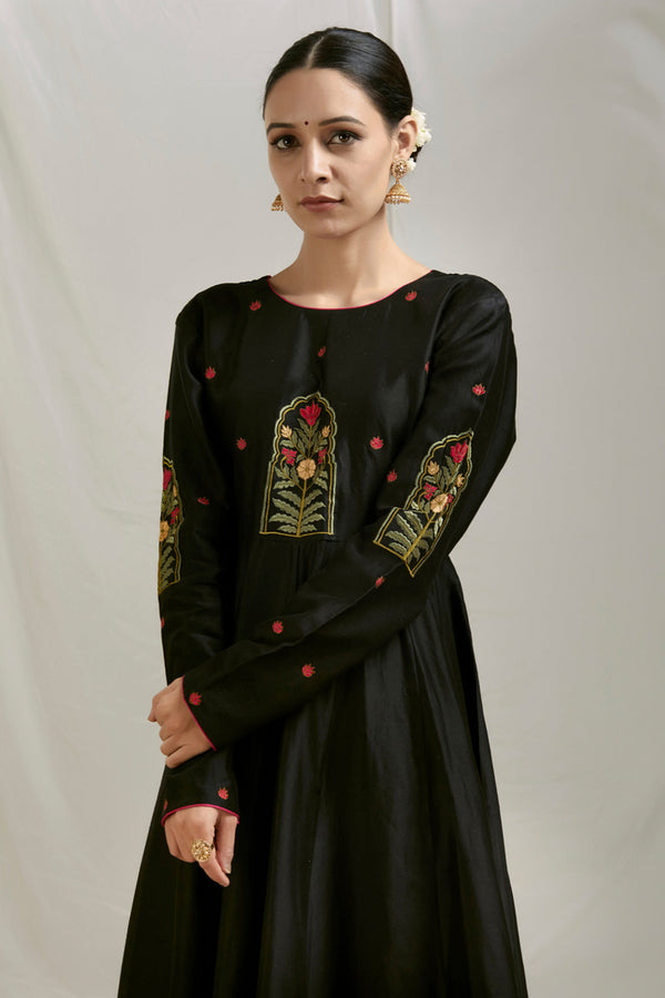 Black Embroidered Chanderi Anarkali
