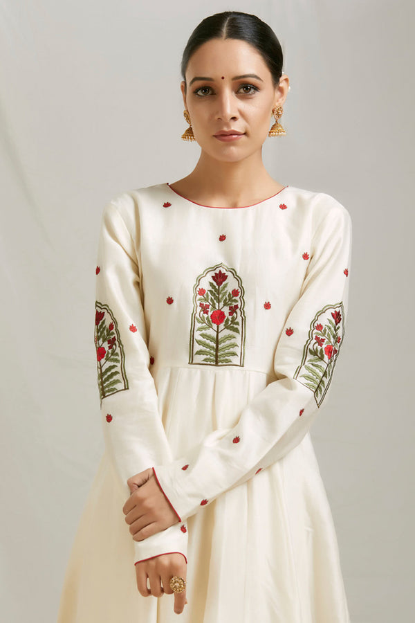 Ivory Embroidered Chanderi Anarkali