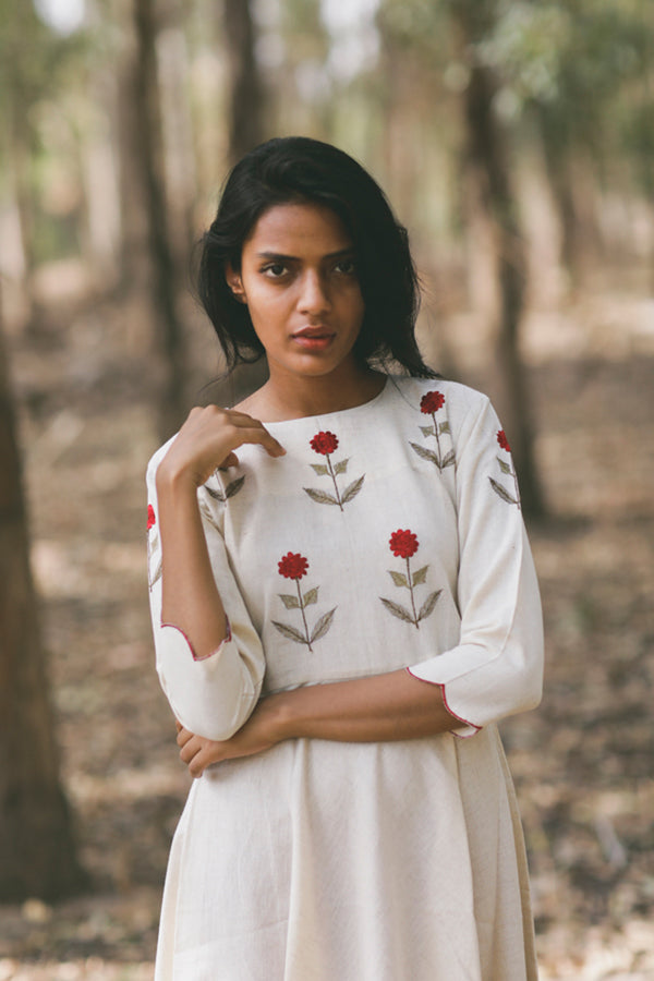 Ivory Mogra Scalloped Swing Kurta
