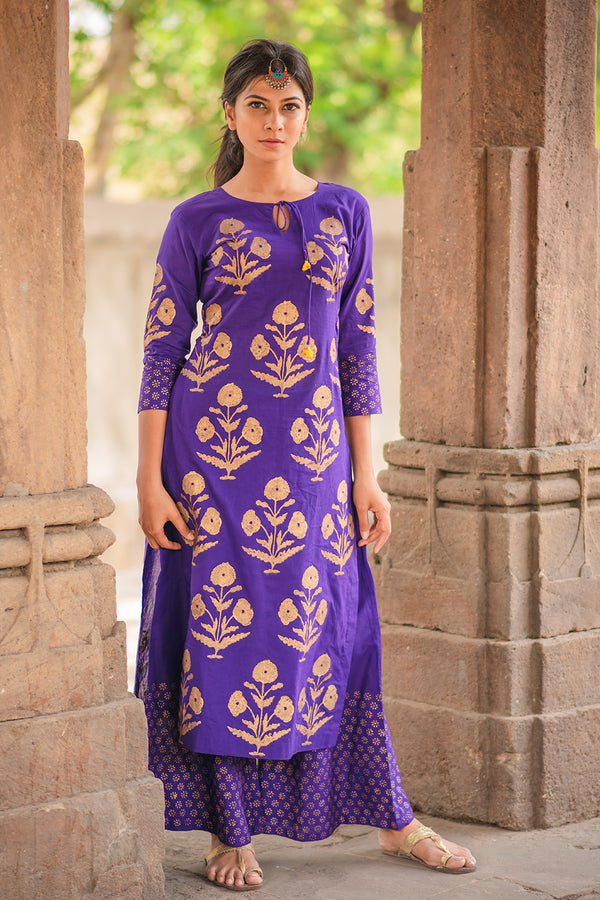 Purple Block Printed Kurta & Palazzo (Set of 2)