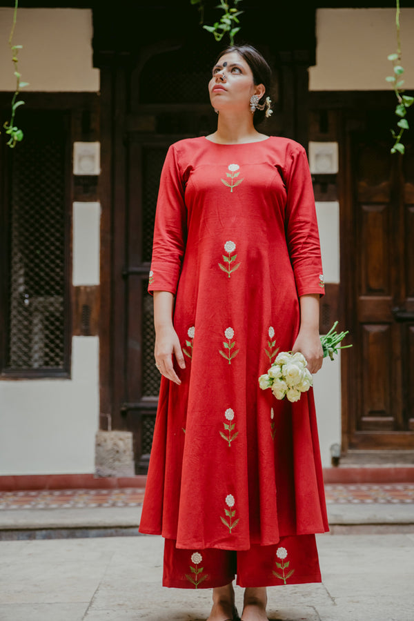 Crimson Mogra Embroidered A-Line Kurta