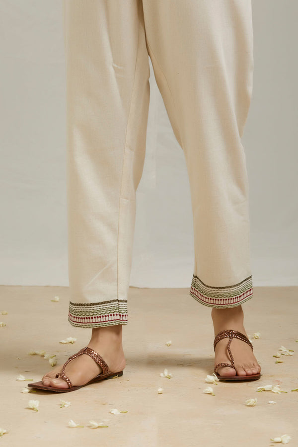 Ivory Embroidered Cotton Pant