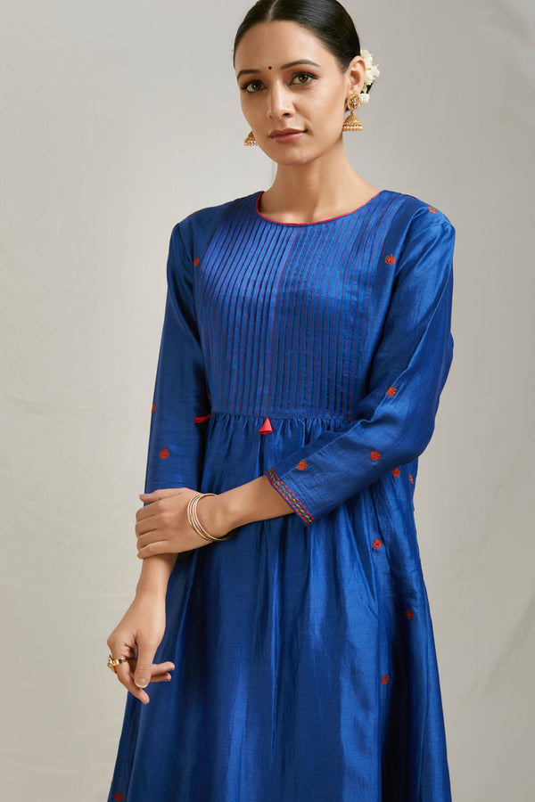 Royal Blue Pintucks Chanderi Kurta
